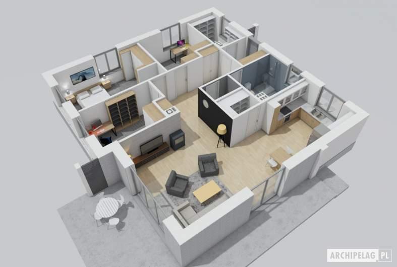 Projekt domu Mini 11 - wnętrza salon
