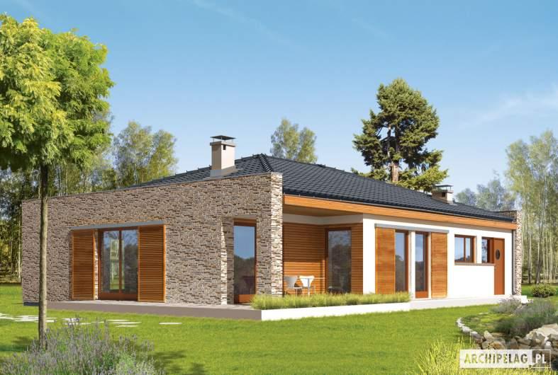 Projekt domu Marlon II G1 (z wejściem od południa) - wizualizacja ogrodowa