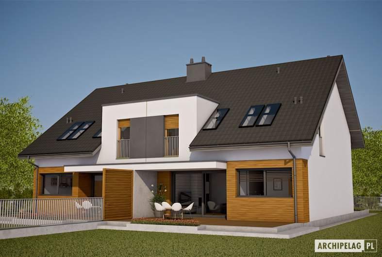 Projekt domu Wiktor G1 (bliźniak) - wizualizacja ogrodowa