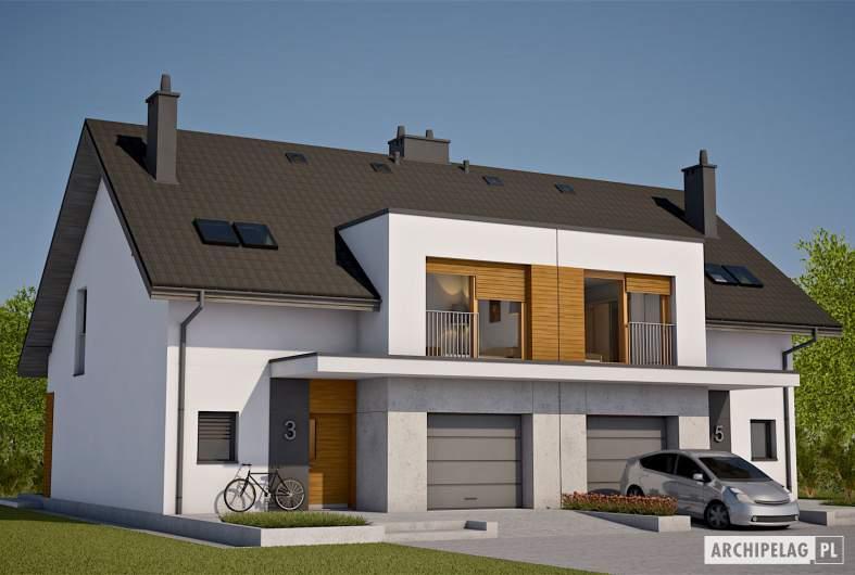 Projekt domu Wiktor G1 (bliźniak) - wizualizacja frontowa