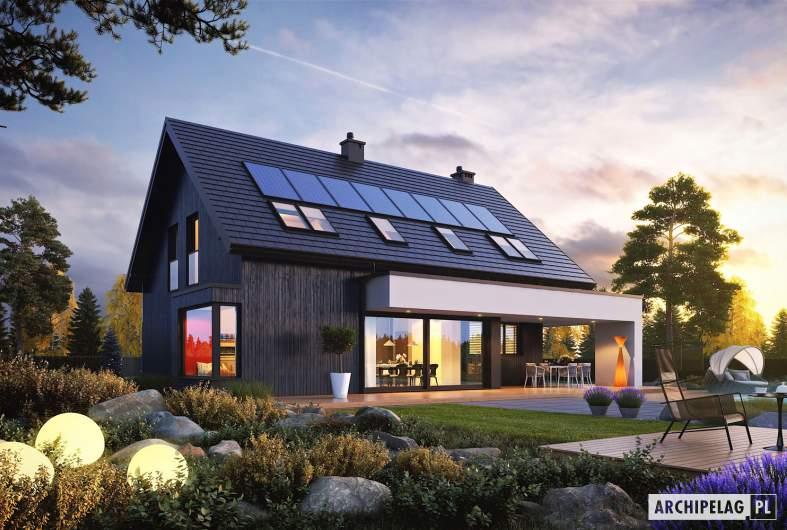 Projekt domu Malkolm G2 - wizualizacja ogrodowa nocna
