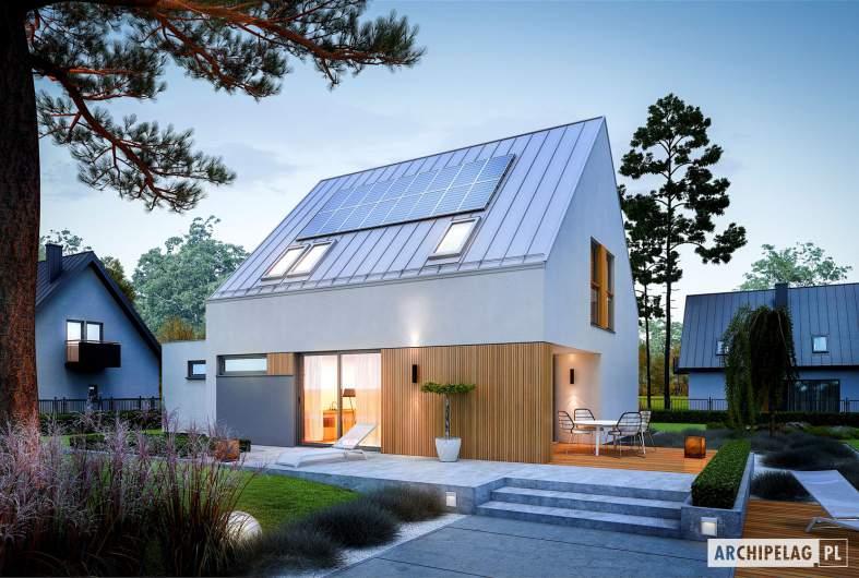 Projekt domu Mini 5 G1 PLUS - wizualizacja ogrodowa nocna