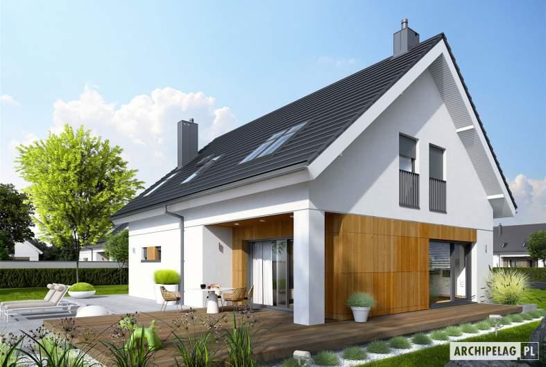 Projekt domu Tola - wizualizacja ogrodowa i boczna