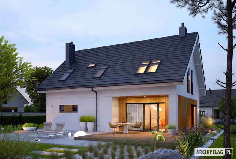 Projekt domu Tola - wizualizacja ogrodowa nocna