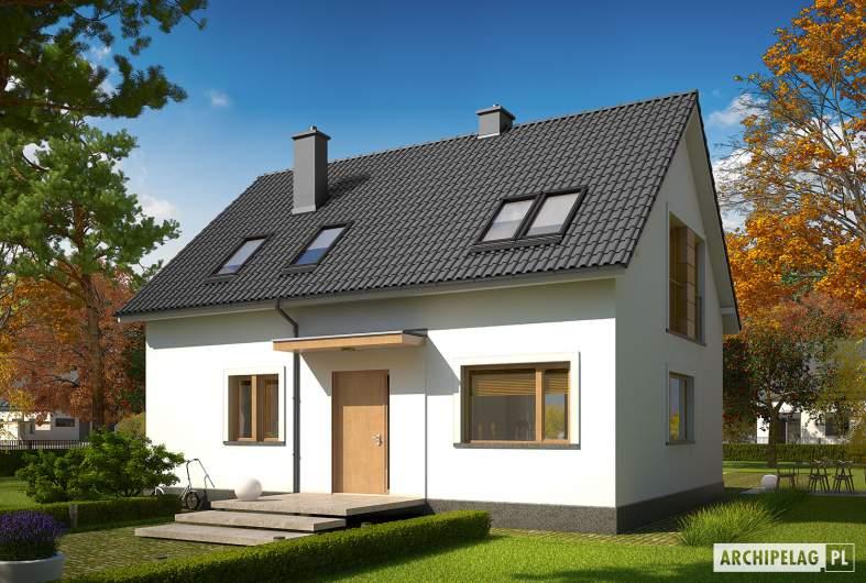 Projekt domu E12 III ECONOMIC - wizualizacja frontowa (inny kolor dachu)