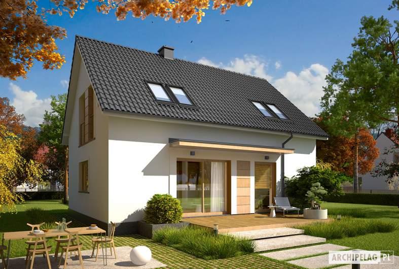 Projekt domu E12 III ECONOMIC - wizualizacja ogrodowa (inny kolor dachu)