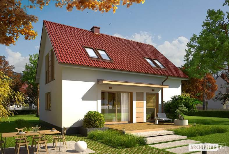 Projekt domu E12 III ECONOMIC - wizualizacja ogrodowa