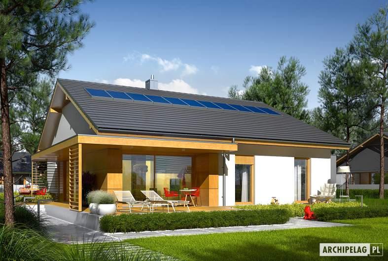 Projekt domu Iwo II G2 ENERGO PLUS - wizualizacja ogrodowa