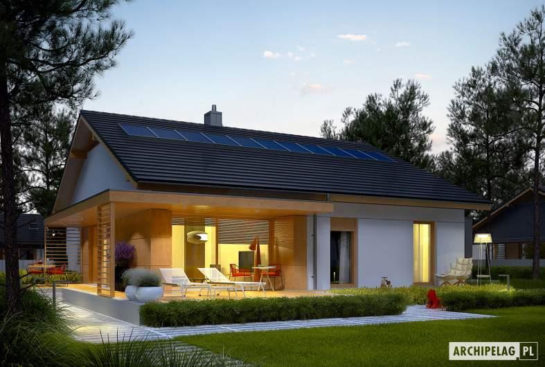 Projekt domu Iwo II G2 ENERGO PLUS - wizualizacja ogrodowa noc