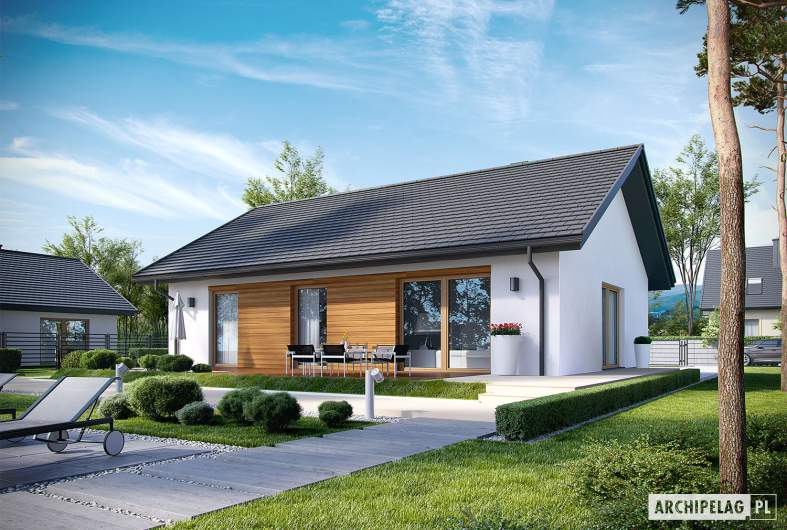 Projekt domu Kornel V ENERGO - wizualizacja ogrodowa