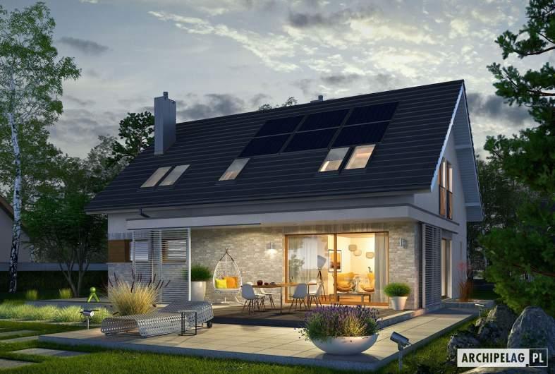 Projekt domu Logan II - Projekty domów ARCHIPELAG - Logan II - wizualizacja ogrodowa nocna