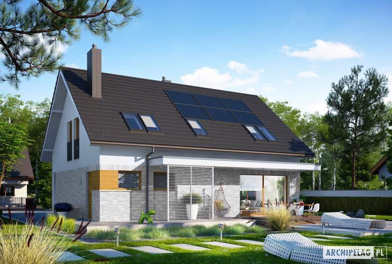 Projekt domu Logan II - Projekty domów ARCHIPELAG - Logan II - wizualizacja ogrodowa lewa