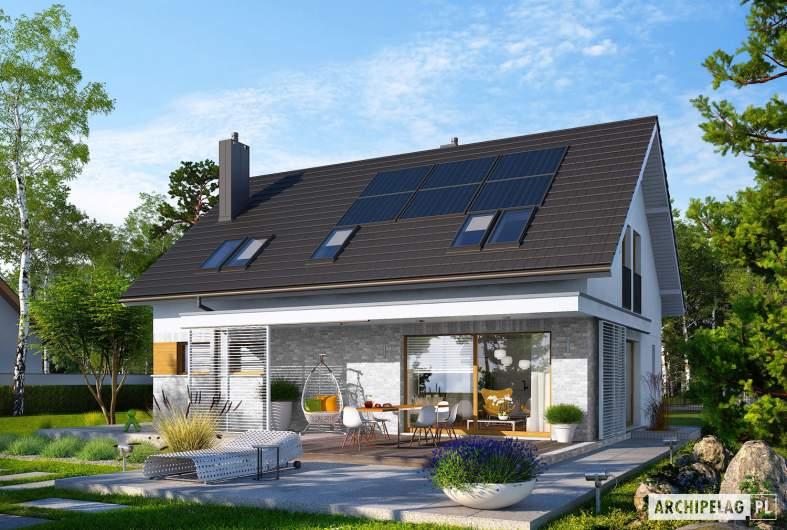 Projekt domu Logan II - Projekty domów ARCHIPELAG - Logan II - wizualizacja ogrodowa prawa