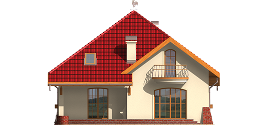 Rozína - Projekt domu Rozyna G1 - elewacja tylna