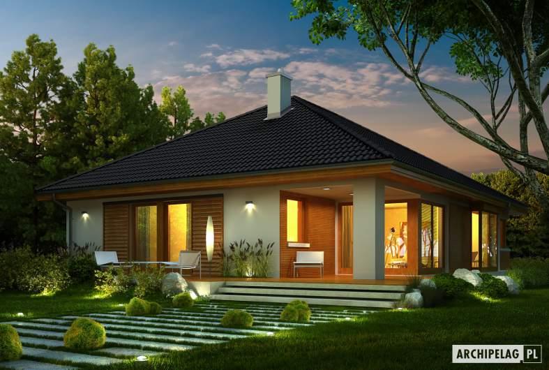 Projekt domu Glen II G1 - wizualizacja ogrodowa nocna