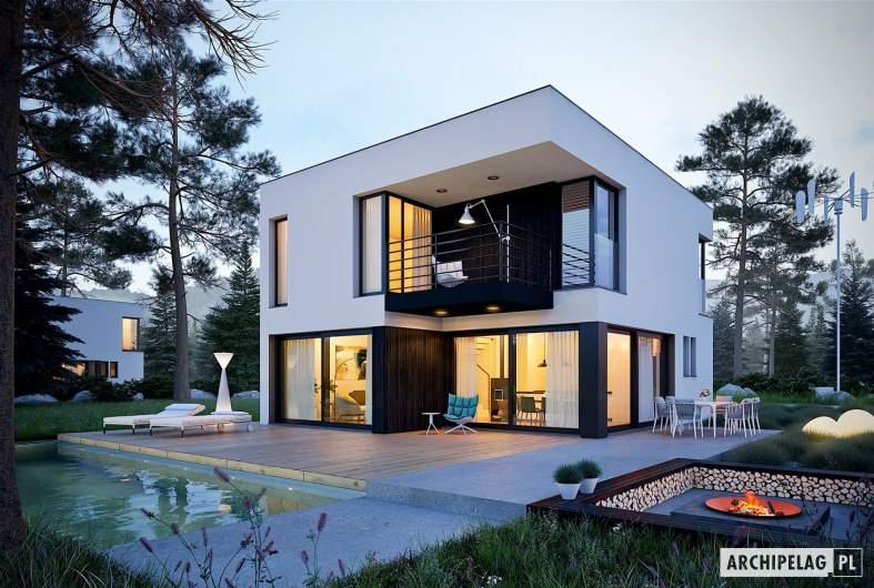 Projekt domu EX 2 soft - wizualizacja ogrodowa nocna