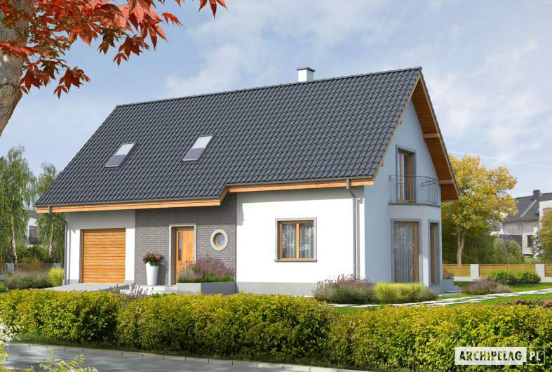 Projekt domu Ben II G1 (z piwnicą) - wizualizacja frontowa