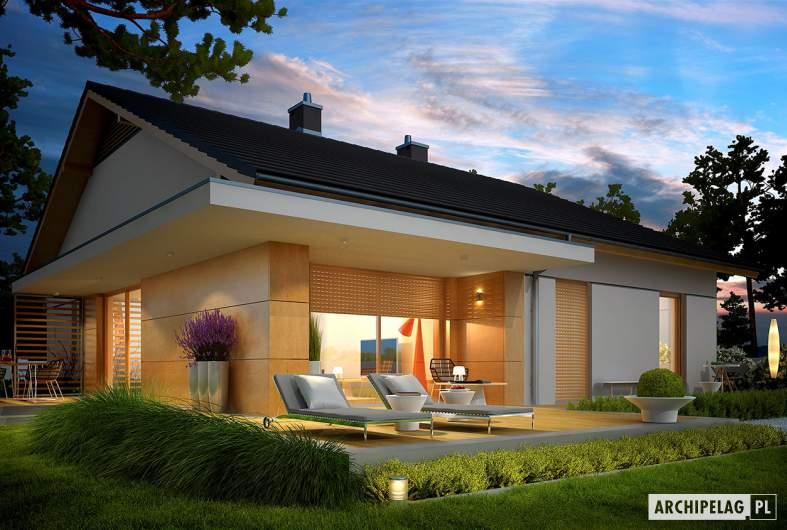 Projekt domu Iwo G1 - wizualizacja ogrodowa nocna