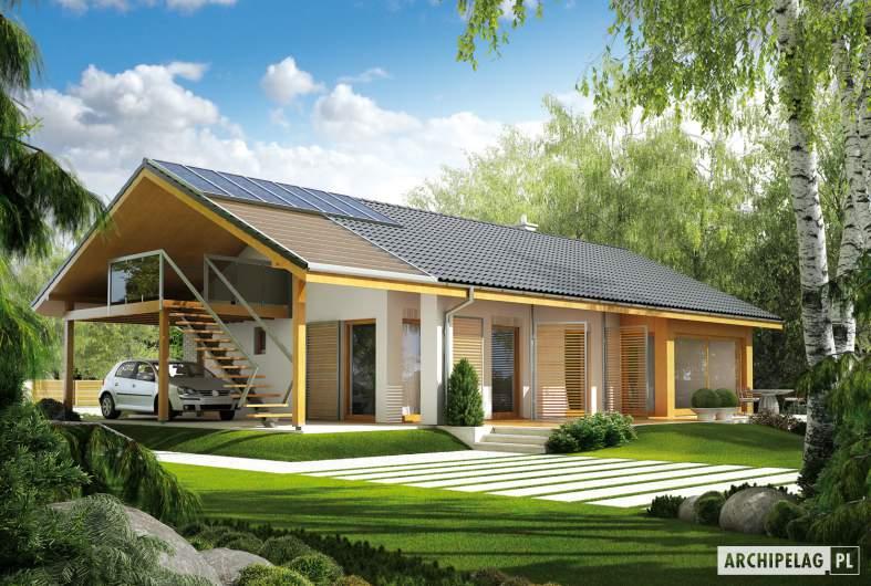 Projekt domu Eryk (z wiatą) - wizualizacja ogrodowa