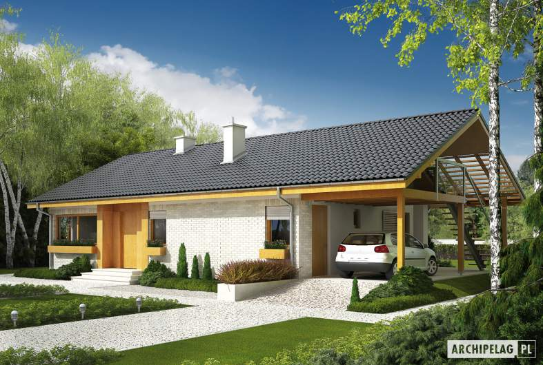 Projekt domu Eryk (z wiatą) - wizualizacja frontowa