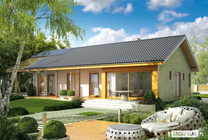 Projekt domu Eryk (z wiatą) 30 stopni - wizualizacja ogrodowa