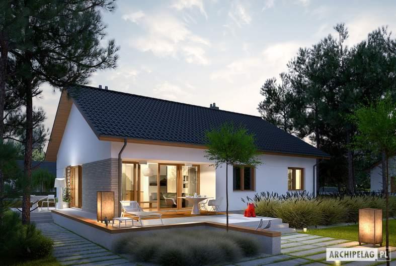 Projekt domu Swen II - wizualizacja ogrodowa nocna