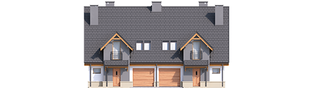 Projekt domu Sambor G1 (bliźniak) - elewacja frontowa