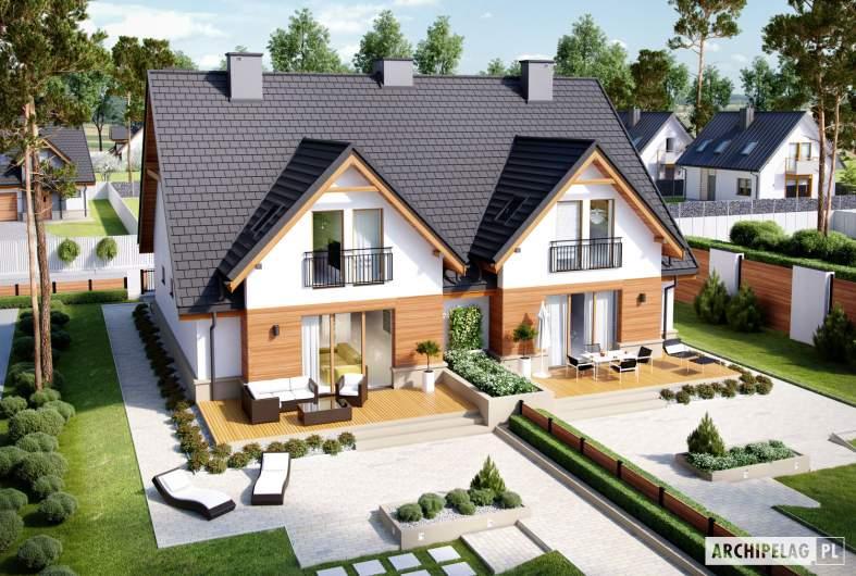 Projekt domu Sambor G1 (bliźniak) - widok z góry