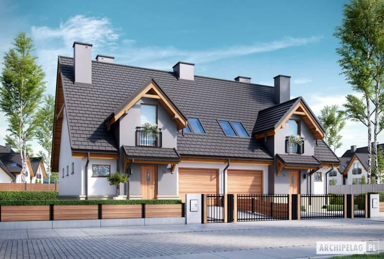 Projekt domu Sambor G1 (bliźniak) - wizualizacja frontowa