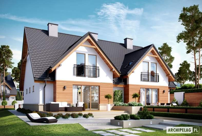 Projekt domu Sambor G1 (bliźniak) - wizualizacja ogrodowa