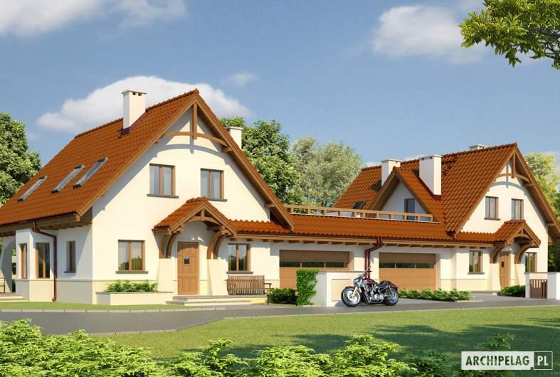 Projekt domu Karolinka G2 (bliźniak) - wizualizacja frontowa