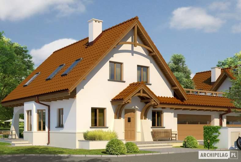 Projekt domu Karolinka G2 (bliźniak) - wizualizacja frontowa 1
