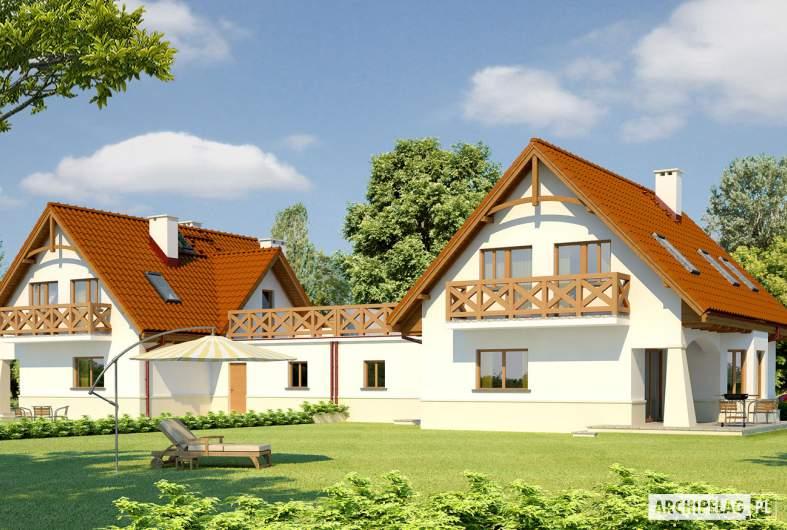 Projekt domu Karolinka G2 (bliźniak) - wizualizacja ogrodowa