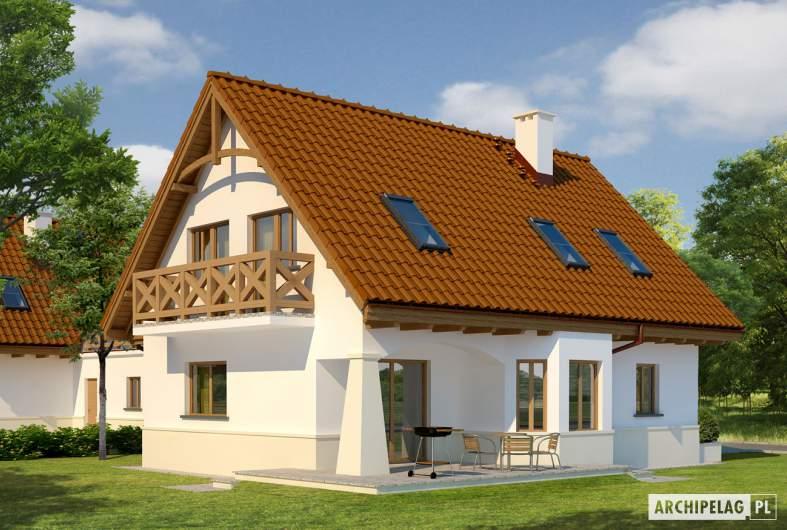 Projekt domu Karolinka G2 (bliźniak) - wizualizacja ogrodowa 1