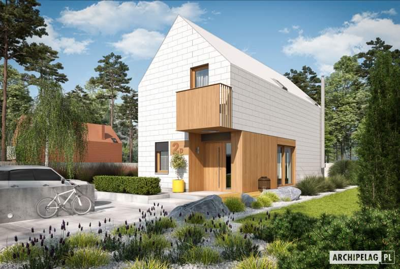 Projekt domu Moniczka II (wersja D) - wizualizacja frontowa