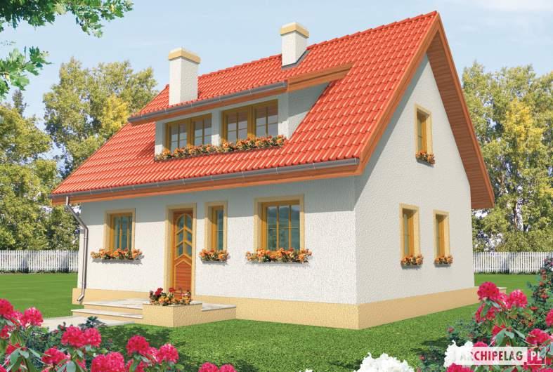Projekt domu Calineczka - Projekty domów ARCHIPELAG - Calineczka - wizualizacja frontowa