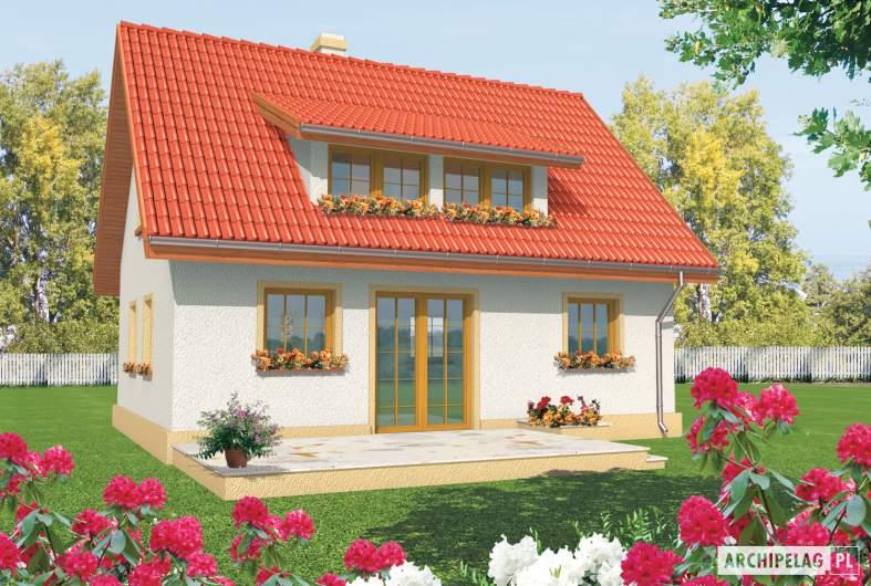 Projekt domu Calineczka - Projekty domów ARCHIPELAG - Calineczka - wizualizacja ogrodowa