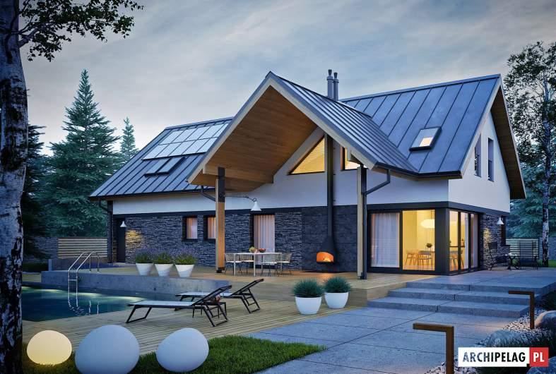 Projekt domu Nikolas II G2 ENERGO PLUS - wizualizacja ogrodowa nocna