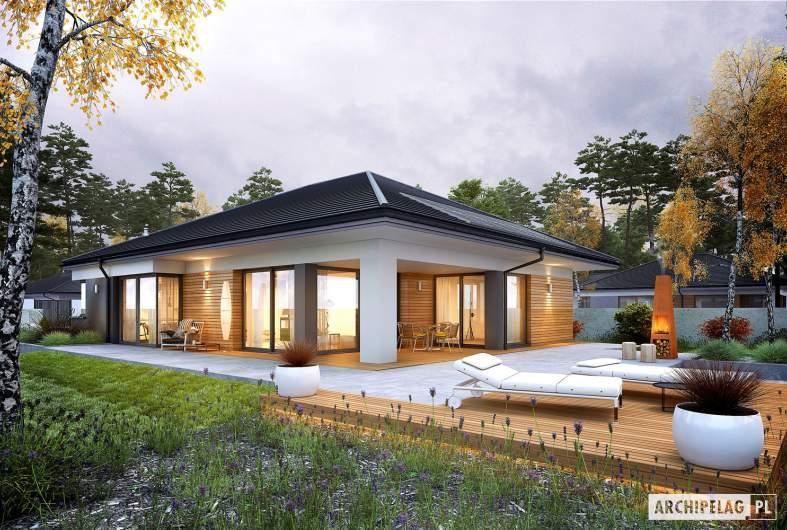 Projekt domu Tanita III G2 ENERGO PLUS - wizualizacja ogrodowa nocna