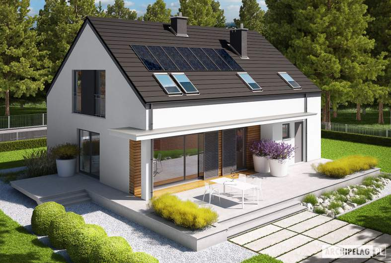 Projekt domu E4 G1  (wersja A) MULTI-COMFORT - widok z góry