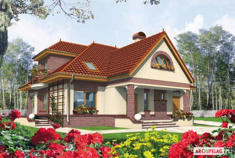 Projekt domu Liwia G1 - Projekty domów ARCHIPELAG - Liwia G1 - wizualizacja frontowa