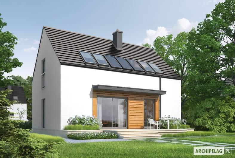 Projekt domu E1 II ECONOMIC (wersja A) - wizualizacja ogrodowa lewa