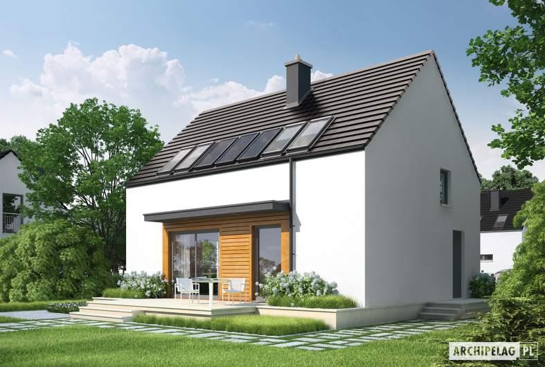 Projekt domu E1 II ECONOMIC (wersja A) - wizualizacja ogrodowa