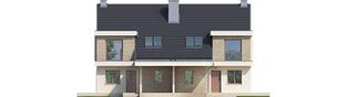 Projekt domu Oliwier z wiatą (bliźniak) - elewacja frontowa