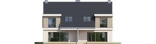 Projekt domu Oliwier z wiatą (bliźniak) - elewacja tylna