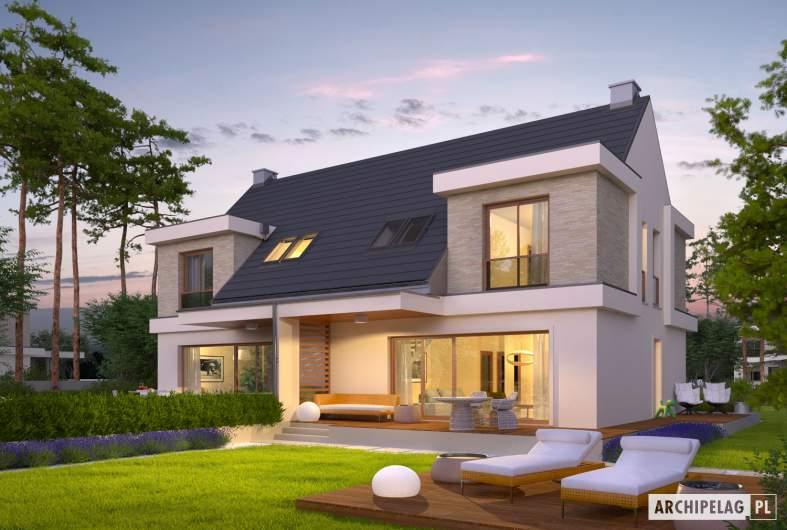 Projekt domu Oliwier z wiatą (bliźniak) - wizualizacja ogrodowa nocna