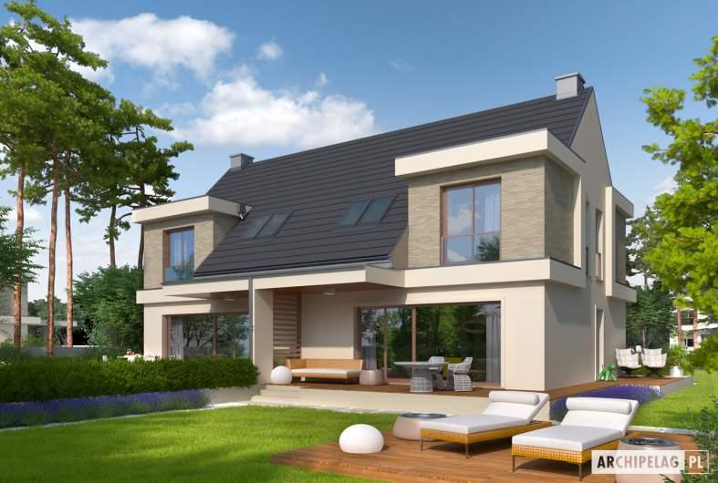 Projekt domu Oliwier z wiatą (bliźniak) - wizualizacja ogrodowa