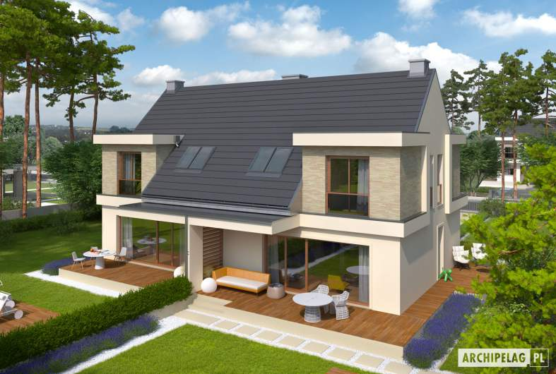 Projekt domu Oliwier z wiatą (bliźniak) - widok z góry