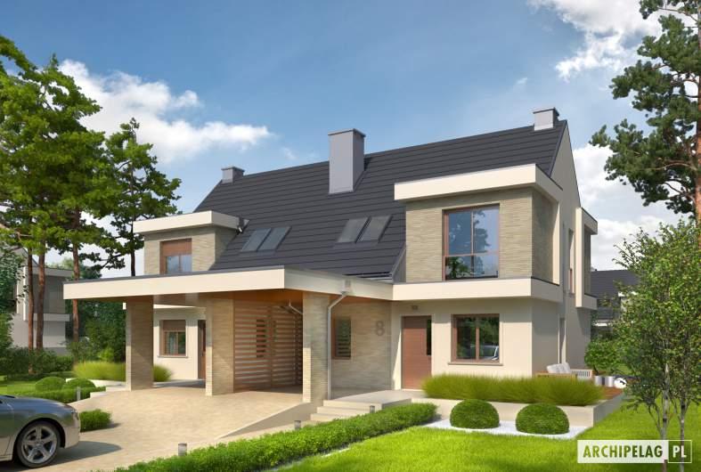 Projekt domu Oliwier z wiatą (bliźniak) - wizualizacja frontowa