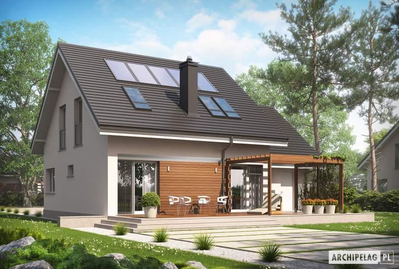 Projekt domu Leosia G1 ENERGO - wizualizacja ogrodowa